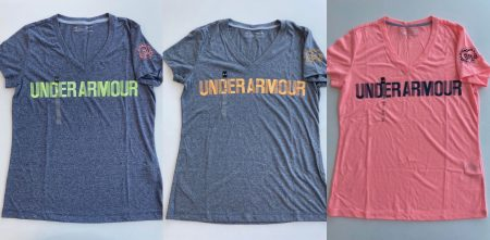 Tシャツ ③ブルー(グリーンロゴ) ,④グレー(オレンジロゴ),⑤ピンク
